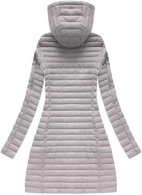 Světle šedý prošívaný dámský kabát