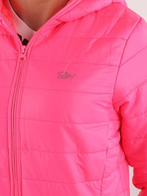 Sytě růžová prošívaná dámská bunda