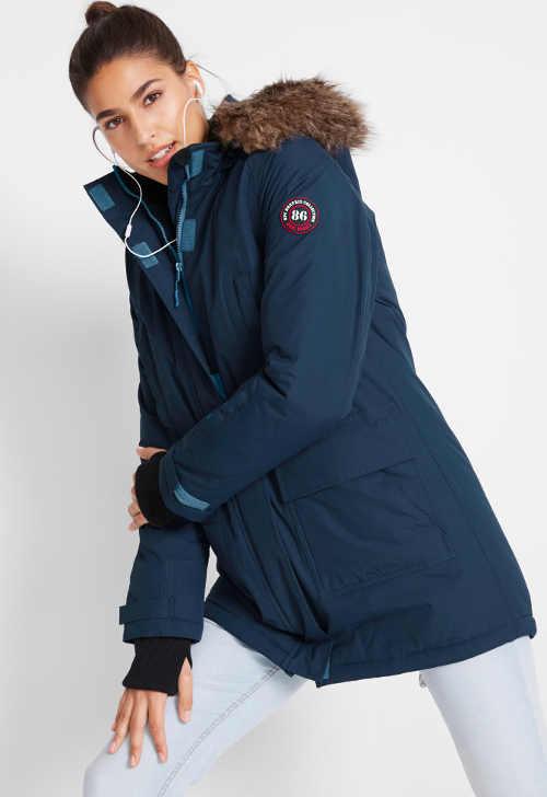 Tmavě modrá sportovní dámská zimní bunda