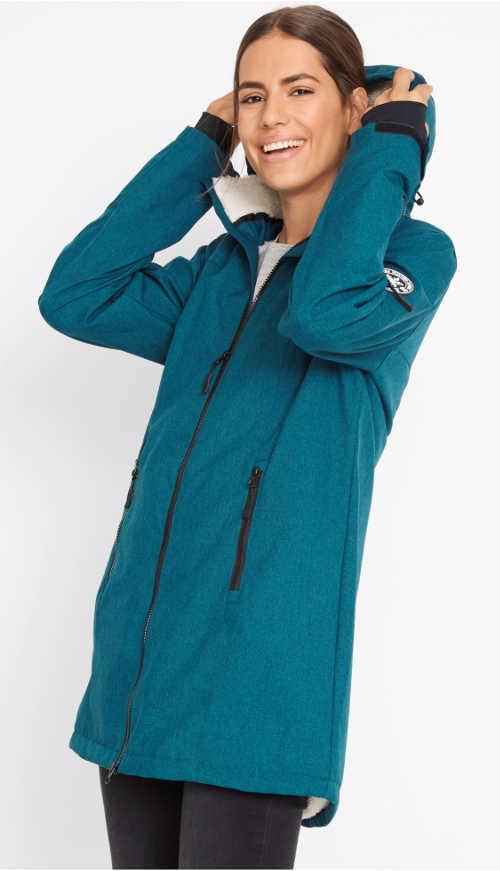 Tmavě tyrkysová outdoorová dámská zimní bunda
