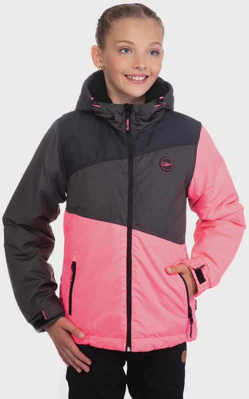Zlevněná růžová dětská zimní bunda