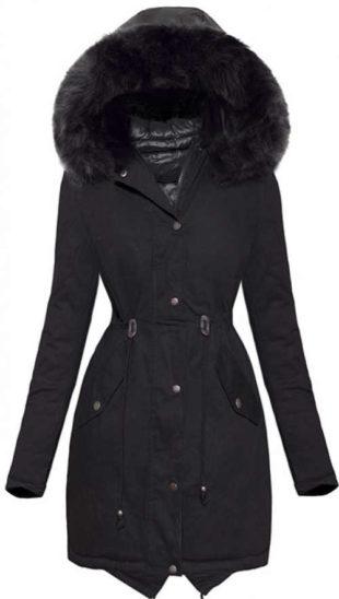 Černá oboustranná dámská bunda z jedné strany lesklá