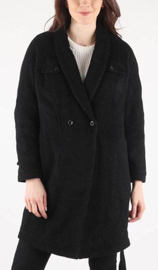 Černý vlněný dámský kabát Diesel W-WANI GIACCA