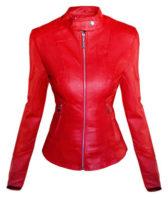 Červená vypasovaná koženková bunda