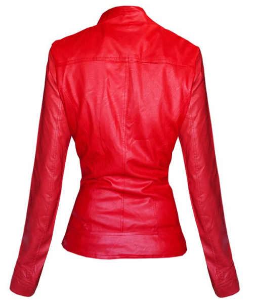 Dámská bunda z lesklé červené koženky