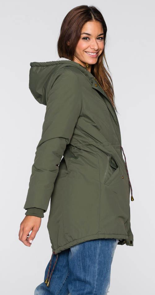 Dámská khaki bunda s kapucí