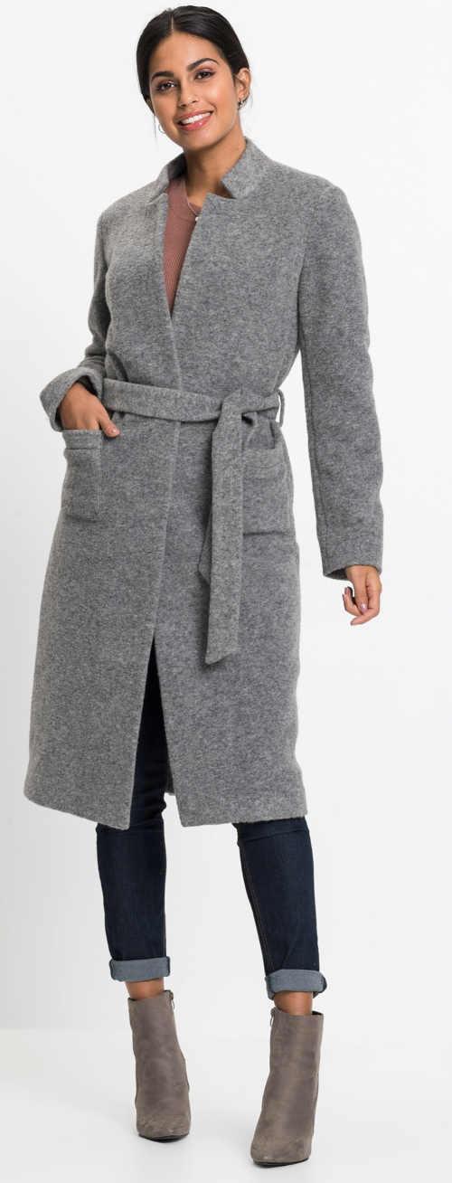 Dámský flaušový kabát šedé barvy