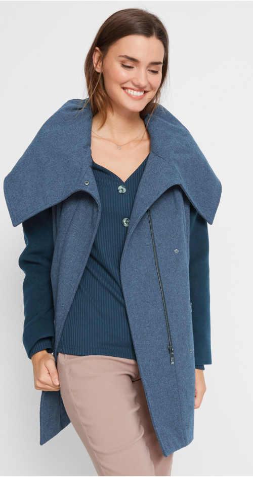 Dámský kabát s velkým límcem