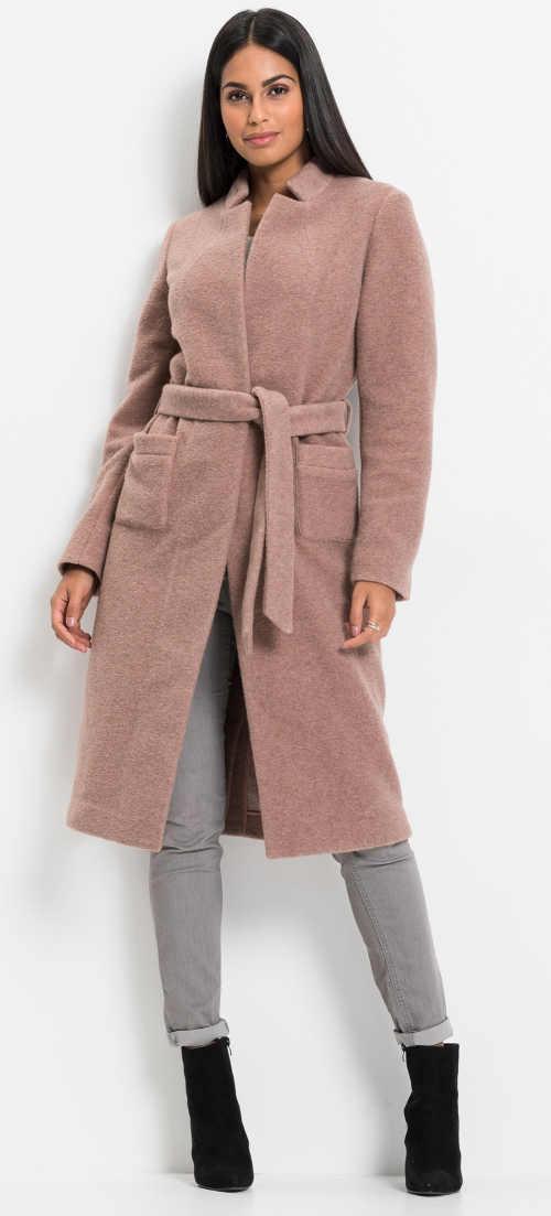 Dámský semišový kabát s páskem a průhmatovými kapsami