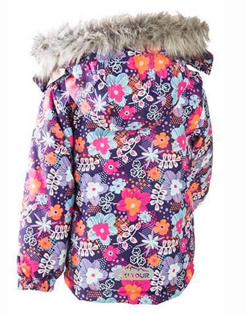 Dívčí květinová bunda s kožešinou na kapuci