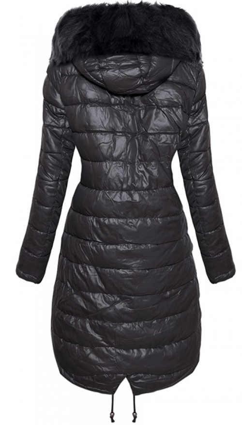 Dlouhá černá lesklá dámská zimní bunda