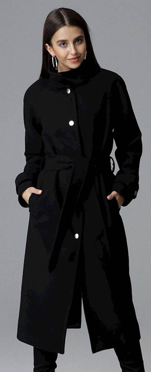 Dlouhý černý dámský kabát Figl