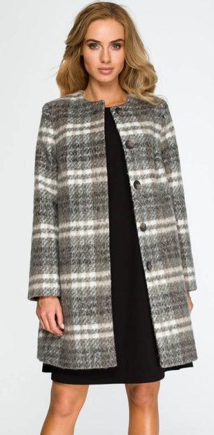 Elegantní kostkovaný dámský vlněný kabát