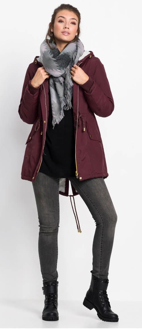 Fialová dámská zimní bunda Bonprix