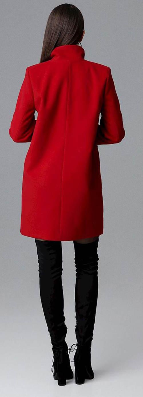 Krátký červený dámský zimní kabát