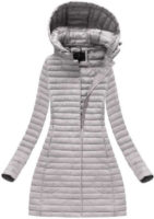 Lehce vypasovaná dlouhá šedá dámská zimní bunda