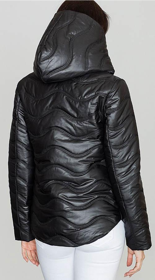 Lesklá černá dámská zimní bunda