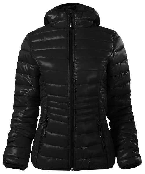 Lesklá černá dámská zimní prošívaná bunda