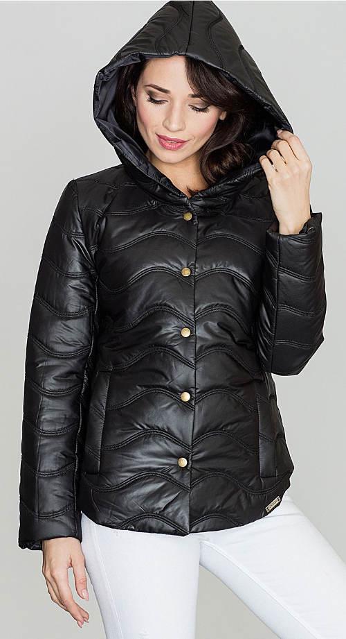 Levná černá dámská zimní bunda s vlnkovým prošitím