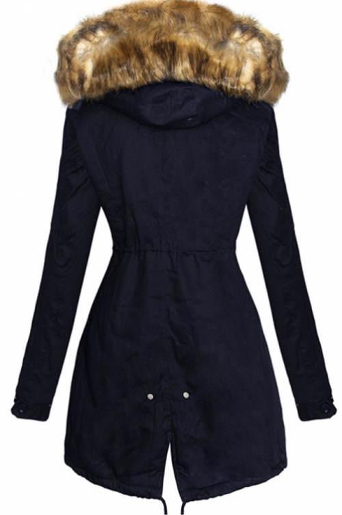 Modrá prodloužená dámská zimní bunda