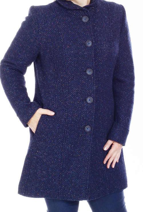 Modrý vlněný dámský kabát