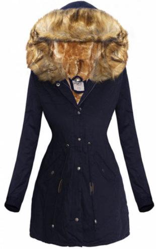 Námořnicky modrá dámská zimní bunda se stahovací šňůrkou v pase