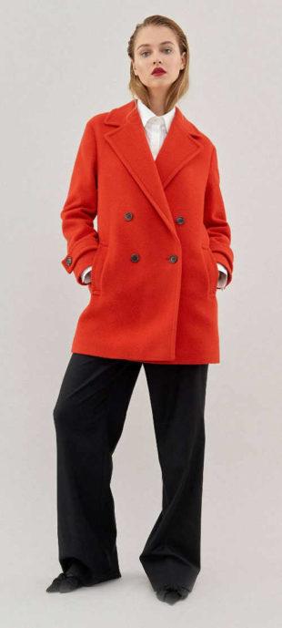 Oranžový dámský vlněný kabát