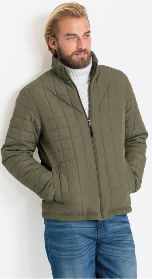 Pánská zimní bunda s drobným kostkovaným prošitím