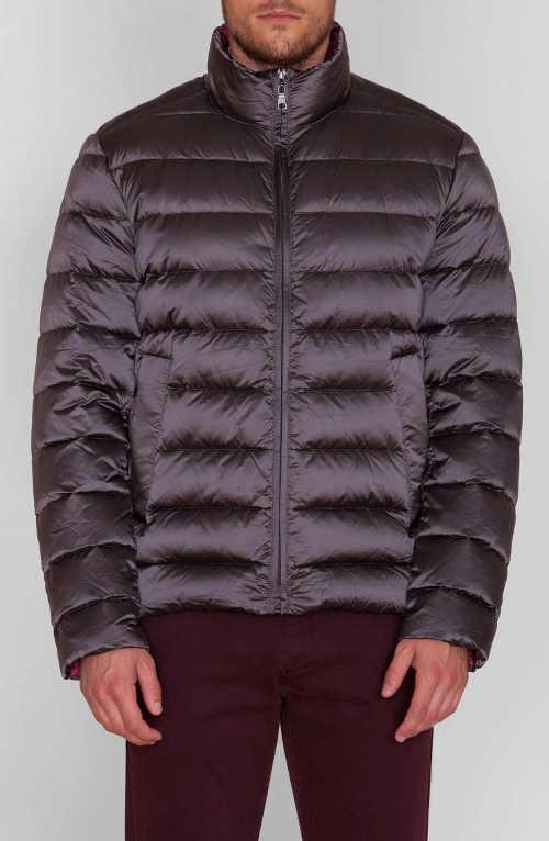 Pánská zimní péřová bunda v ocelově šedé barvě