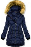 Prodloužená modrá prošívaná dámská zimní bunda s kožíškem