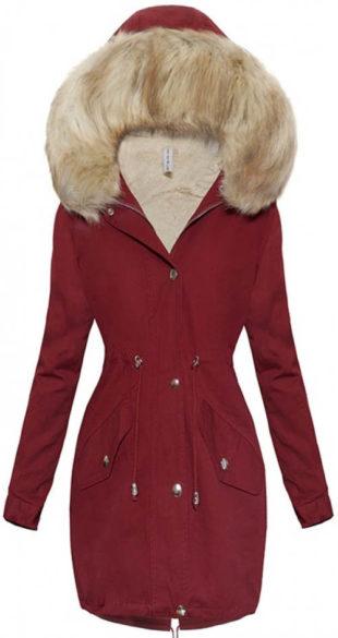 Prodloužená vínová dámská zimní bunda s kožešinou