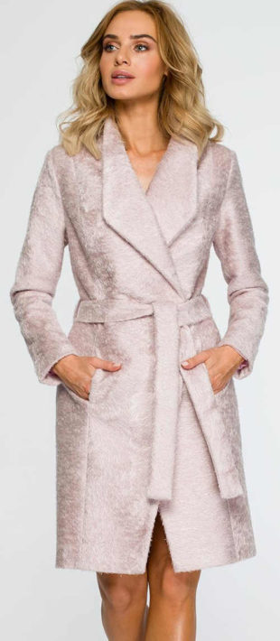 Růžový dámský přechodový kabát