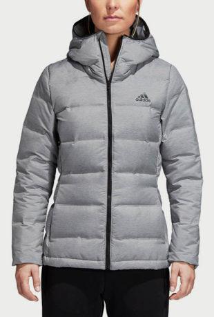 Šedá prošívaná dámská zimní bunda Adidas Performance W Helionic Mel