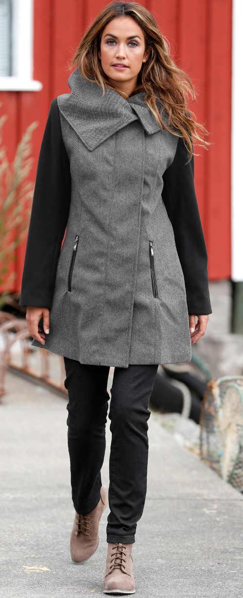 Šedo-černý dámský kabát s velkým límcem