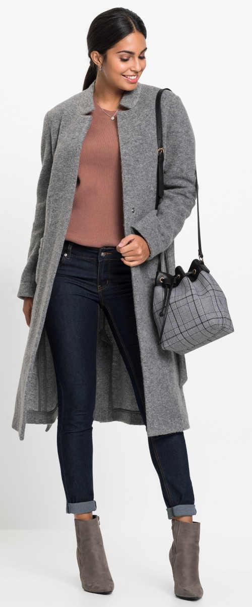 Śedý dámský podzimní kabát