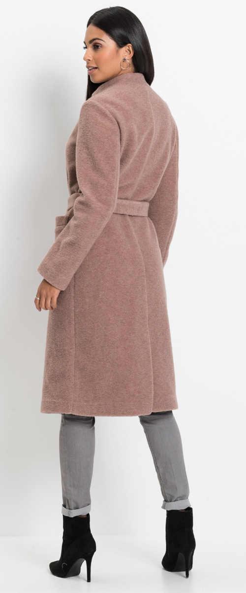Starorůžový dámský kabát ke kolenům