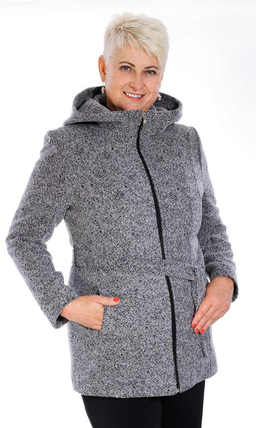 Teplý žíhaný dámský kabátek s kapucí