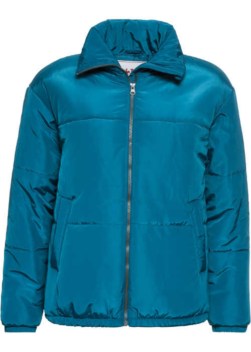 Tyrkysově modrá vatovaná dámská bunda