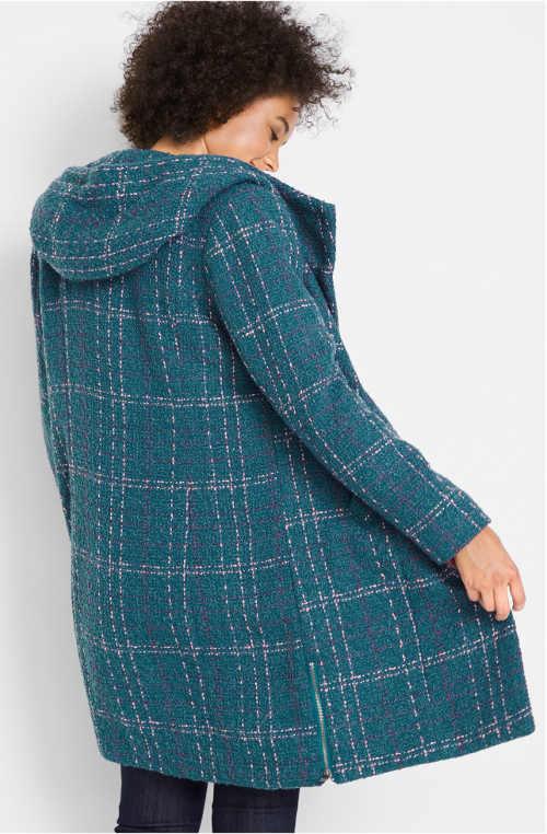Tyrkysový dámský kabát s károvaným prošitím