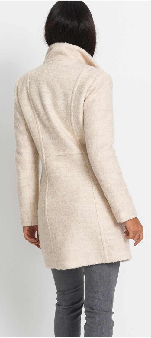 Béžový dámský vlněný kabát