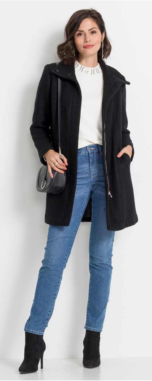 Černý vlněný kabát se zapínáním na zip