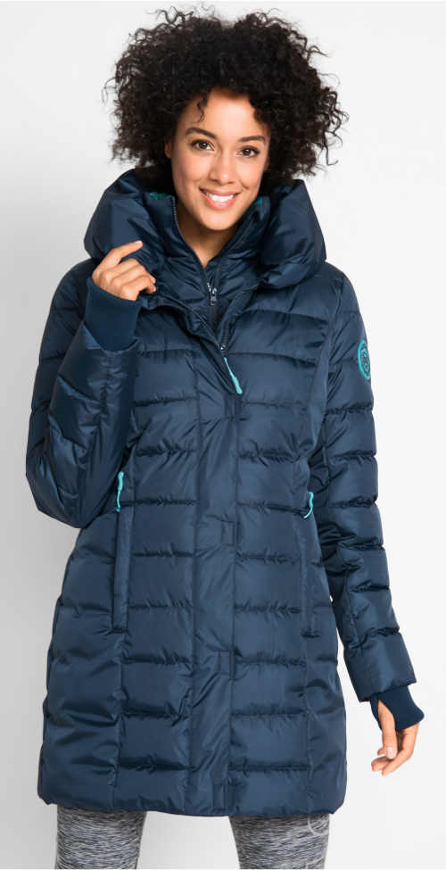Dlouhá modrá prošívaná dámská zimní bunda