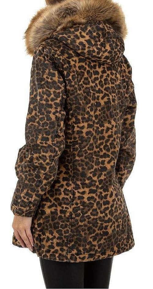 Leopardí dámská zimní bunda s liškou kolem krku