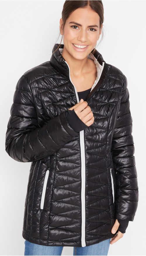 Lesklá černá prošívaná dámská zimní bunda