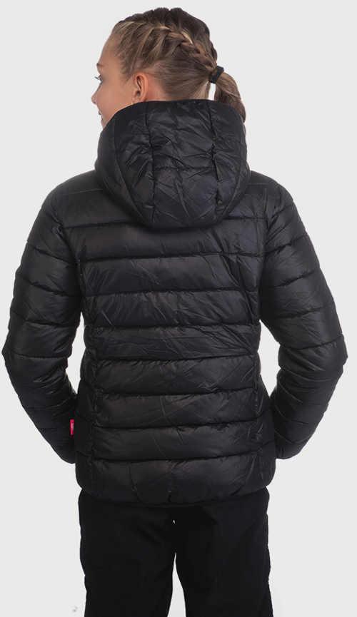 Levná černá dívčí prošívaná zimní bunda s kapucí