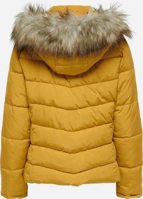 Levná žlutá dámská zimní bunda