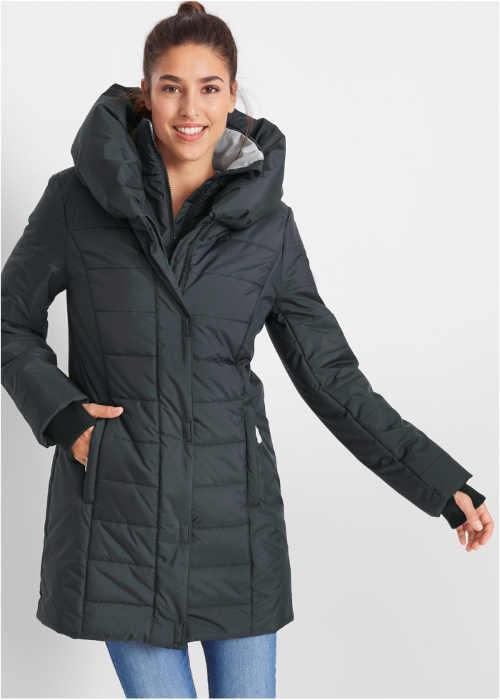 Prodloužená černá prošívaná dámská zimní bunda Bonprix