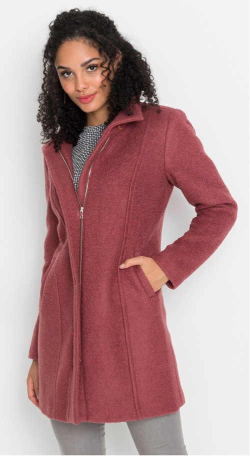 Růžový dámský vlněný zimní kabát