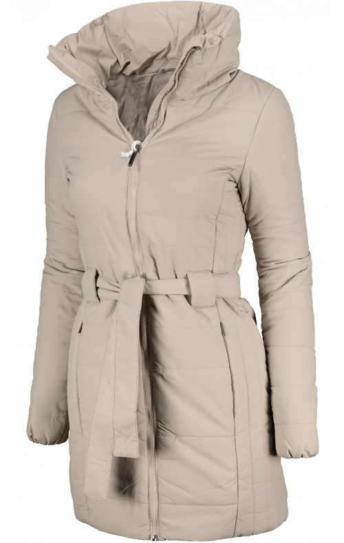 Teplý béžový dámský zimní kabát s páskem