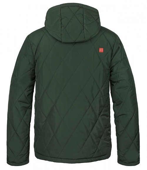 Tmavě zelená prošívaná pánská zimní bunda